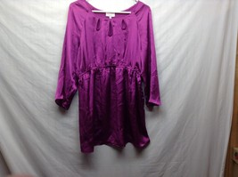 Labor of Love Purple Long Sleeve Maternity Blouse Sz LG image 1