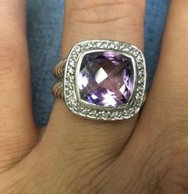 David Yurman Sterling Silver Albion Ring 11mm with Amethyst and Diamonds... - $445.50