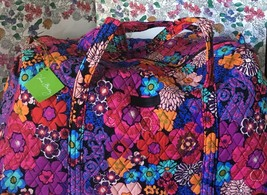 "NWT Vera Bradley "" Floral fiesta"" LARGE Duffel Travel Gym Shoulder Stora... - £45.28 GBP"