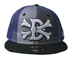 Dissizit Dx11 Bones Gingham Blue & Black New Era 59FIFTY Fitted Baseball Hat NWT
