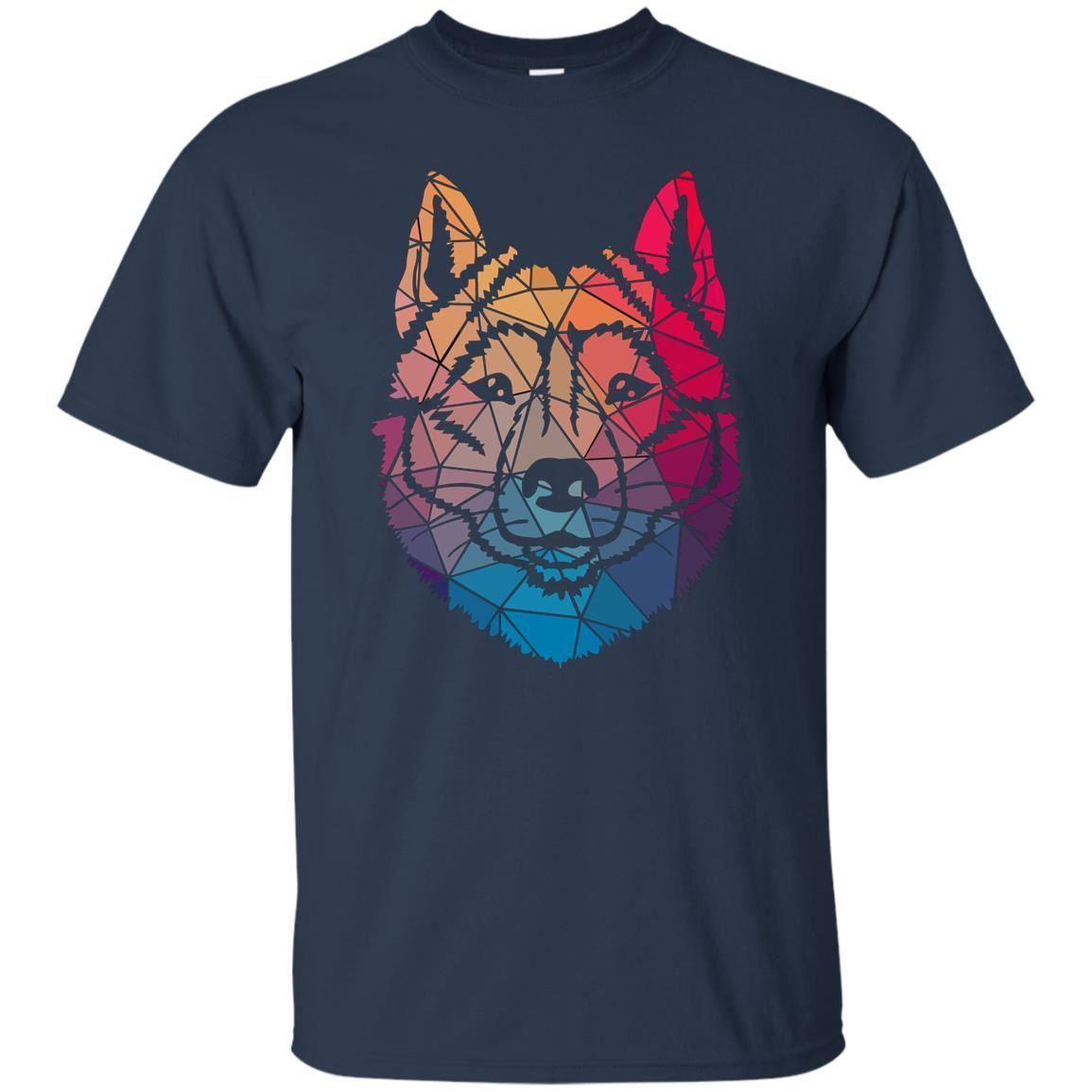 Geometric Cool Siberian Husky Shape Gift T-Shirt Mens Short Sleeve T Shirts