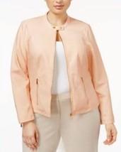 Calvin Klein Size 3X Faux Leather Zip Jacket Blush Peach Zip Sleeve Cott... - $59.50
