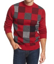 Geoffrey Beene Mens Sweater Red Wine Black Patched Check Crewneck Knit P... - $26.98