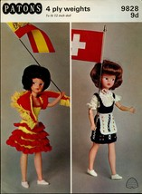 "Patons Knitting Pattern 9828 9d To Fit 12"" Dolls 4ply National Costume Series - $5.99"