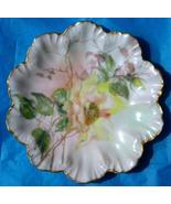 Limoges artist painted fish water plants signed scallop plate gold trim ... - $22.00