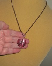 "Necklace Glass Cat's Cats Eye Pink Heart w Bronze Chain 16"" Chain extens... - $14.99"