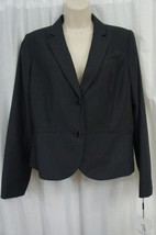 Calvin Klein Blazer Petite Sz 14P Charcoal Grey Pin Stripe Career Suit Jacket - $59.35