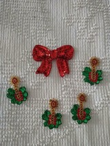 5 PC.VINTAGE EMBELLISHED CHRISTMAS SEQUIN BEADED BUTTON COVERS,BOW,4 CAN... - $11.87