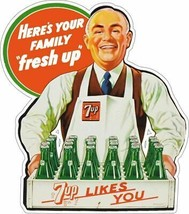 7 Up Delivery Man Plasma Cut Metal Sign, Vintage Inspired Advertisement - $49.95