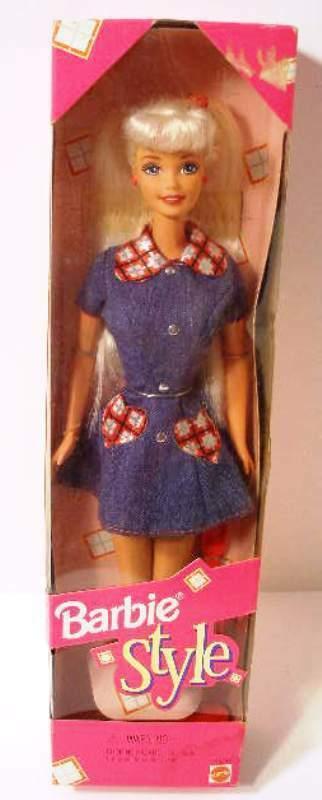 Primary image for Barbie Style New In Box Original 1997 Doll by Mattel 18219 Denim Dress Hearts
