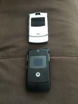 Motorola 2 Cell phones RAZR V3 BLACK AND SILVER GSM TELEPHONE - $116.53