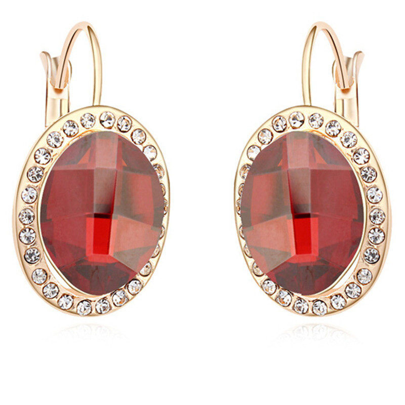 SHDEDE Drop Earrings Jewelry Red Crystal from Swarovski Fashion Accessories For
