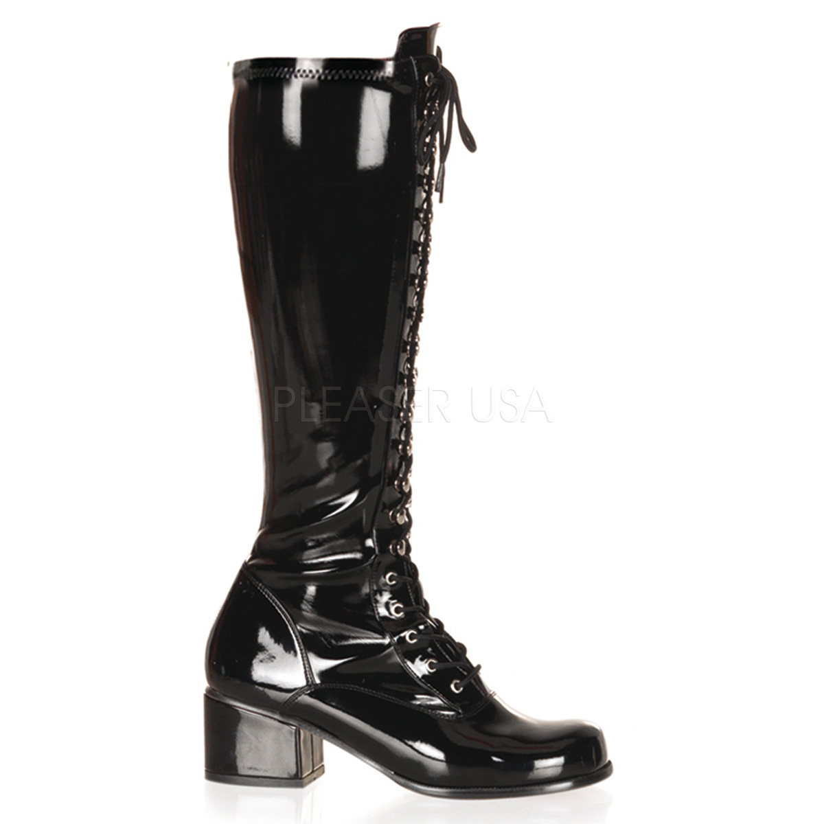 "FUNTASMA Retro-302 Series 2"" Heel Knee-High Boots - Black Str Patent"
