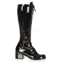 "FUNTASMA Retro-302 Series 2"" Heel Knee-High Boots - Black Str Patent - $59.95"