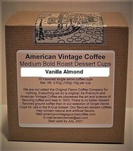 Vanilla Almond flavored Dessert Coffee 10 Medium Bold Roasted Single K-Cups - $9.21