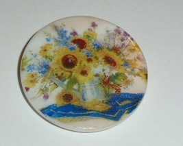 Vase of Sunflowers & Flowers Button - Mother of Pearl MOP Shank Button 1... - $11.99
