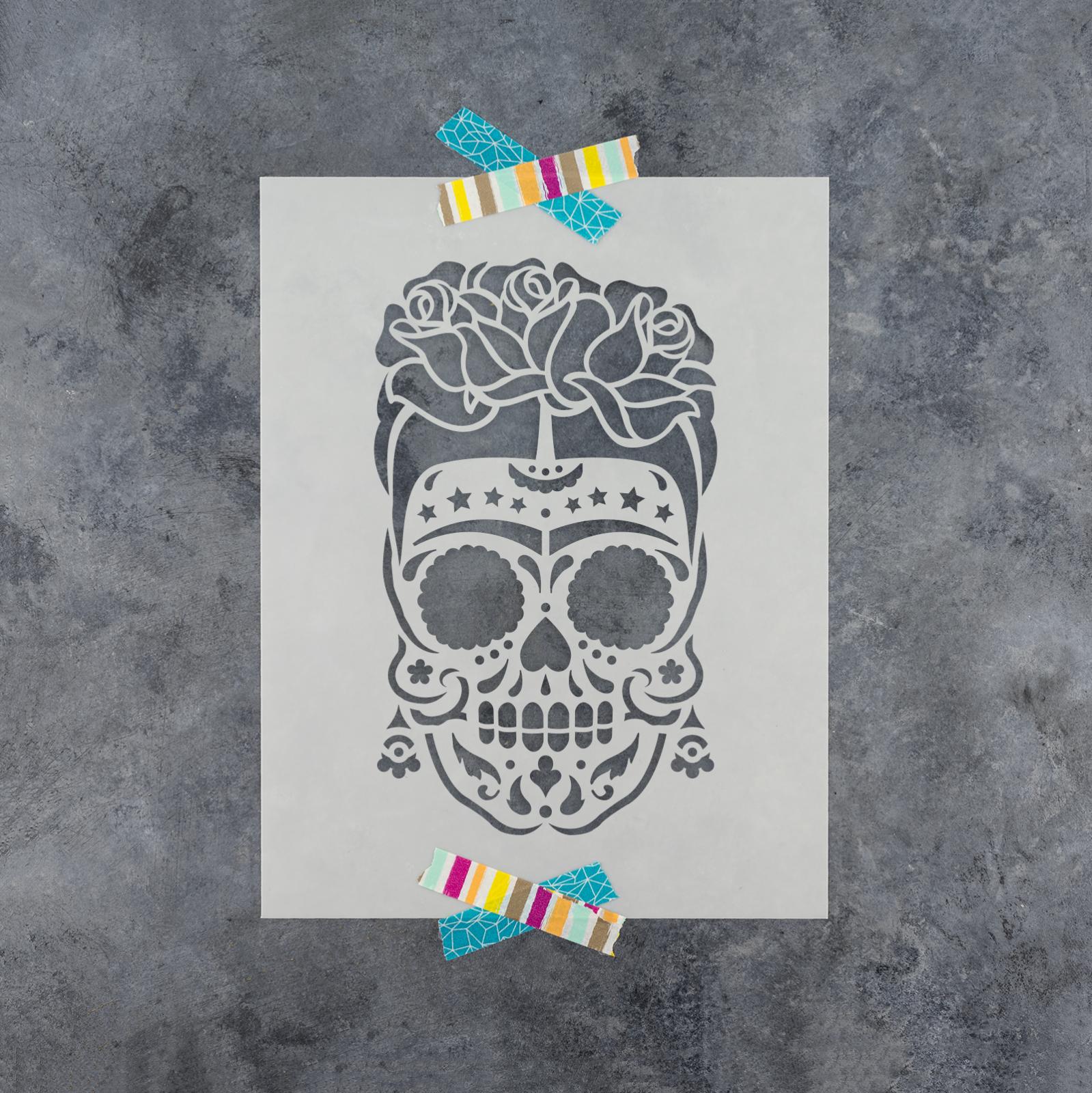 Sugar Skull Frida Stencil - Durable & Reusable Mylar Stencils