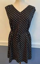 XSP Ann Taylor Loft Petites Navy Blue Print Belted Shift Dress Sleeveless - $17.77