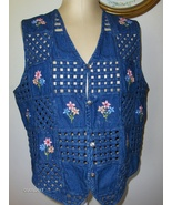 Bobbie Brooks Blue Jean Blue Vest Womens L  12 - 14 Button Up with Flowers  - $14.00
