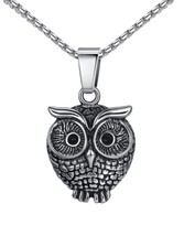 """Stainless Steel Night Owl Pendant Necklace, Unisex, 23"""" Link Chain, aap123 - $37.08"""