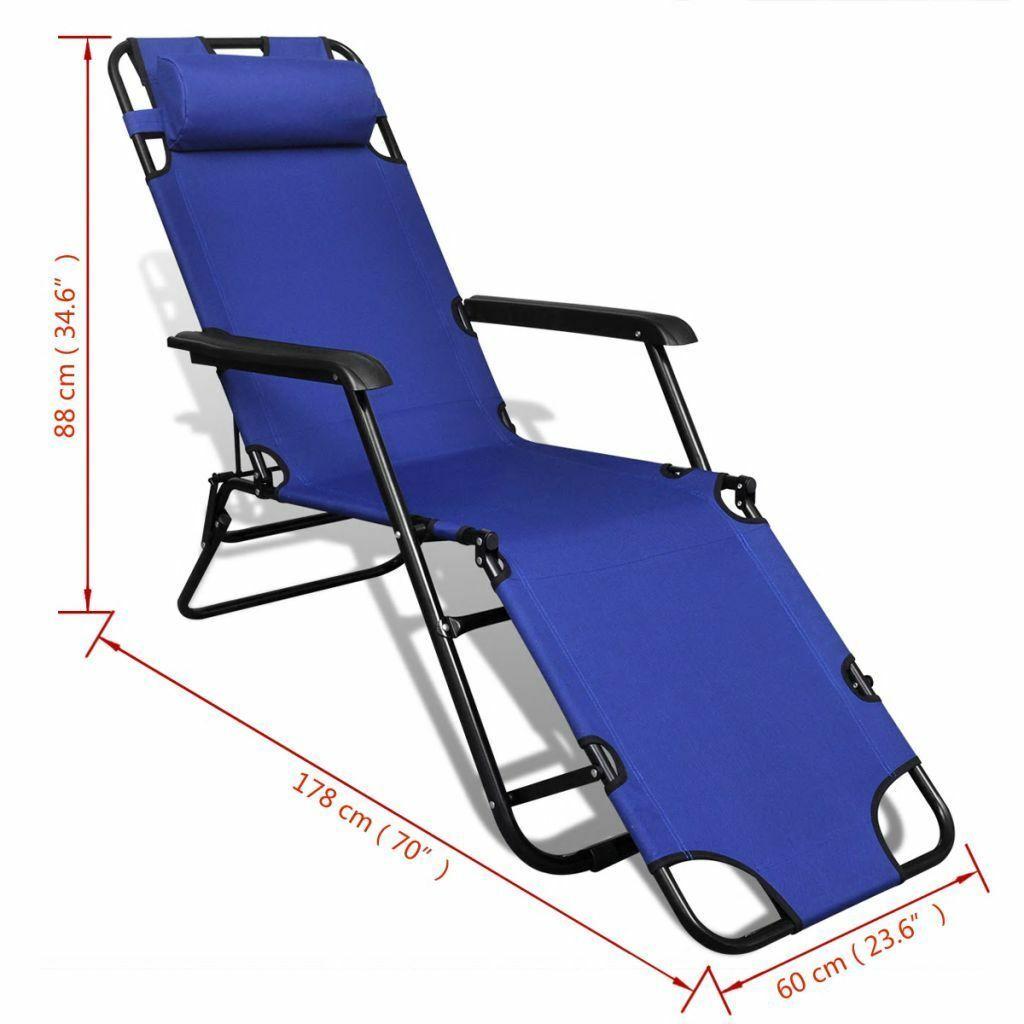 vidaXL 2x Folding Sun Loungers Reclining Chairs 3 Positions Sunbeds 3 Colors image 9
