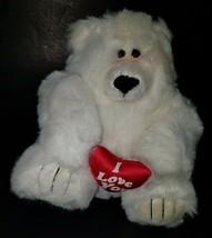 "VTG I Love You White Polar Bear Plush Teddy 9"" Stuffed Animal Toy Fiesta 1989 - $24.70"