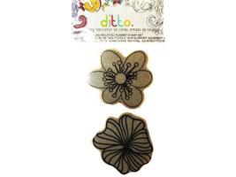 Hampton Art Ditto Double Flowers Rubber Cling Stamp Set #IC0146
