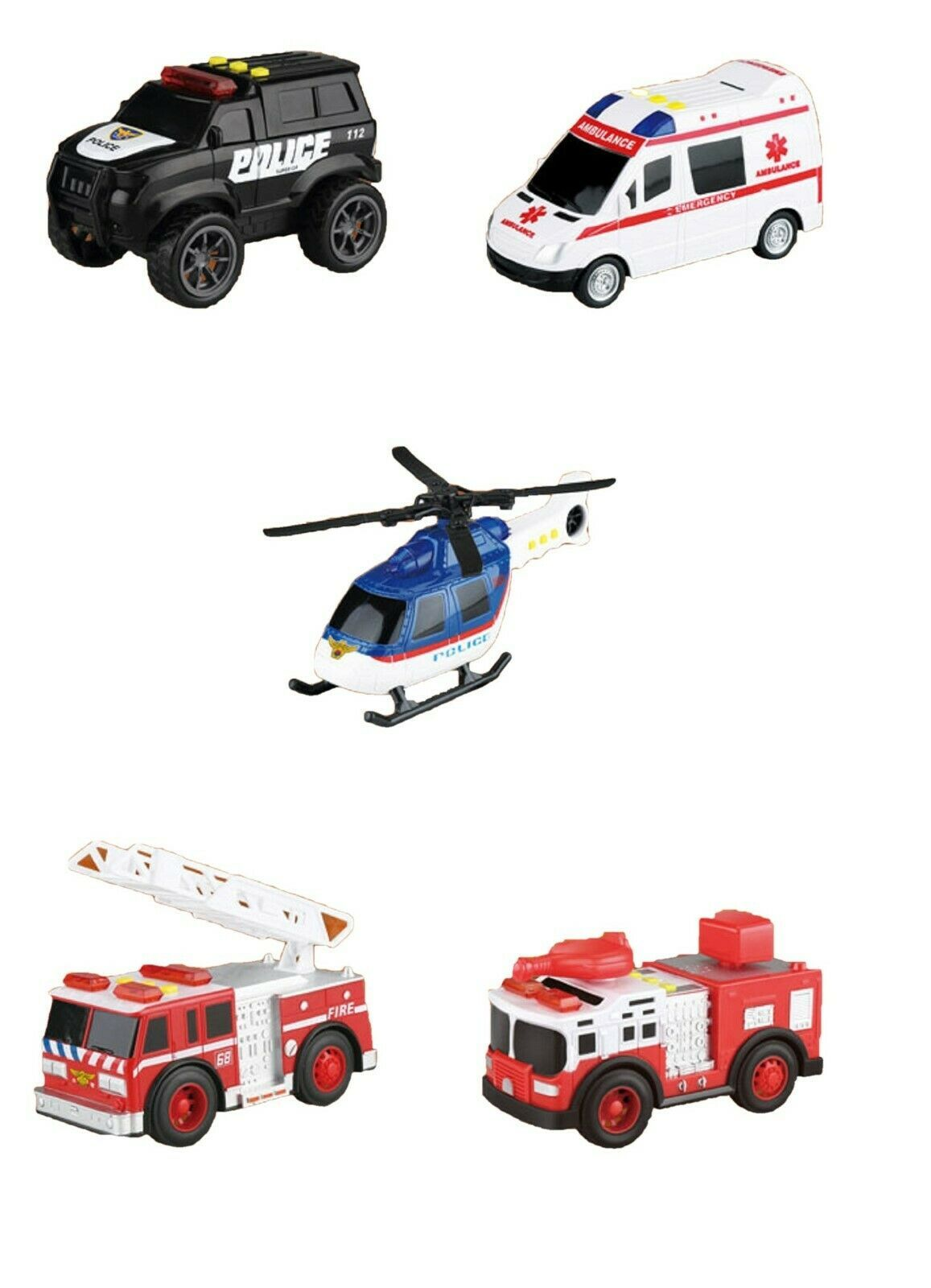 Think Toys City Emergency Rescue Manual Pull Back Special Car Vehicle Toy Set