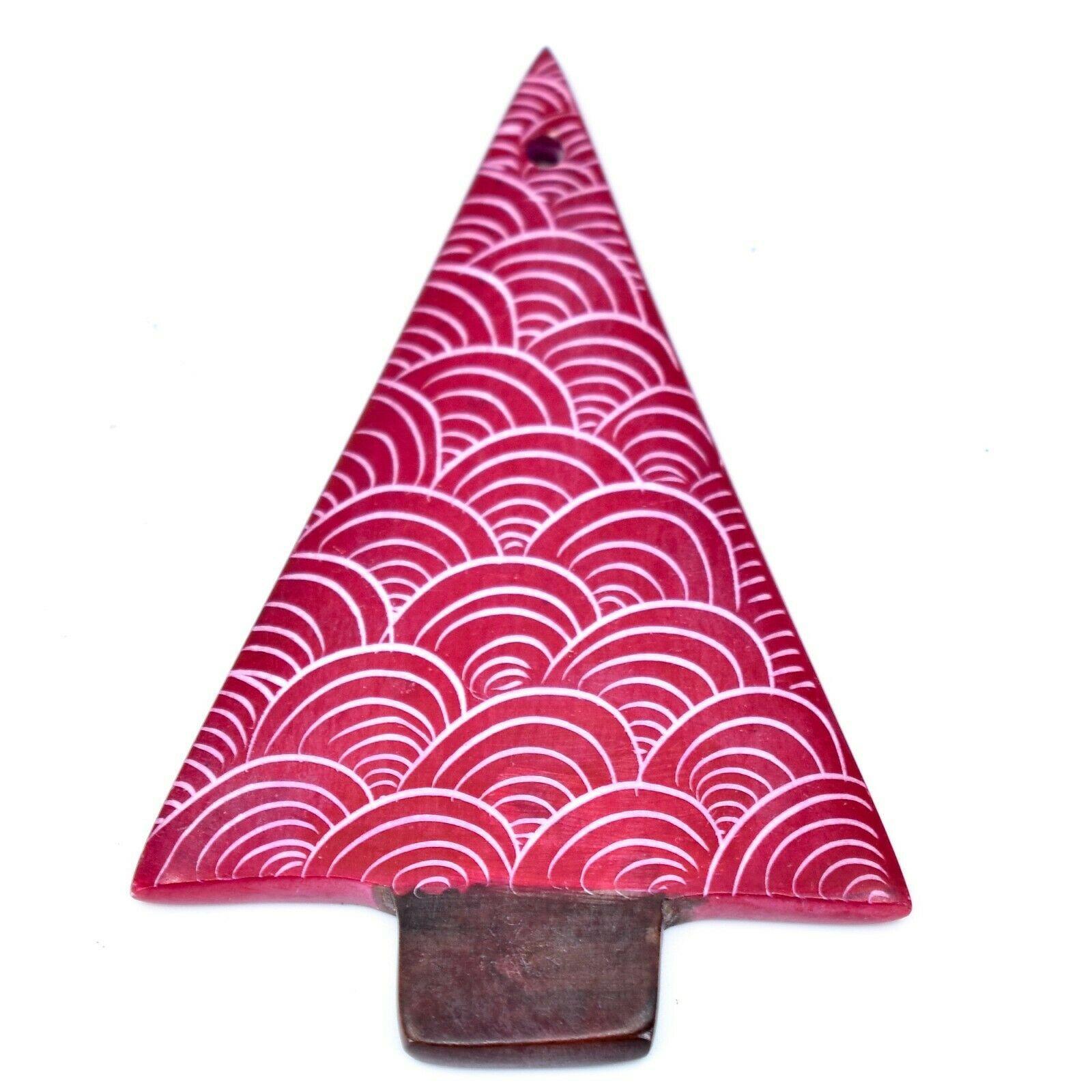 Tabaka Chigware Hand Carved Kisii Soapstone Red Christmas Tree Ornament