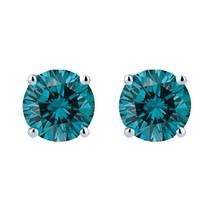 0.50 Carat Genuine Blue Diamond Stud Earrings in 14K Gold - $199.00