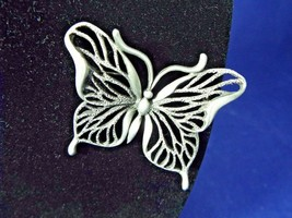 Signed Jonette Pewter 2 1/4 Inch Butterfly Vintage Brooch Pin - $29.99