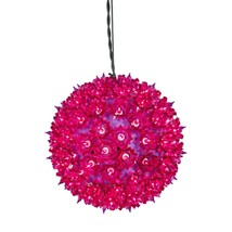 "7.5"" Fuchsia Lighted Hanging Star Sphere Christmas Decoration - $38.57"
