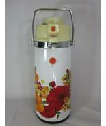 Vintage 70's Air Pot Pump Swivel Base Dispenser Hot Cold Floral Coffee D... - $31.18
