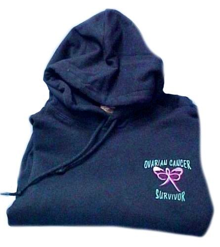 Ovarian Cancer Hoodie M Teal Ribbon Survivor Butterfly Navy Blue Sweatshirt New