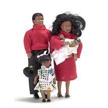 Dollhouse AA Black Ethnic Family of 4 Town Square az00030 Miniature mLn - $36.53