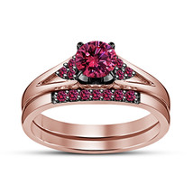 Engagement Bridal Ring Set In Rose Gold Plated 925 Silver Princess Pink ... - $87.15