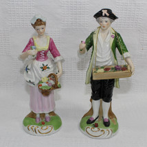Victorian Man and Woman Gathering Flowers Figurines 8 Inches Tall Hand P... - $29.99