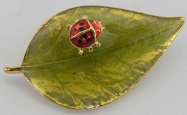 Whimsical Lady Bug Guilloche Enamel Pin Green Leaf Pin - $9.99