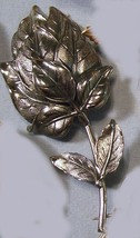 Silver tone leafy flower bud pin signed Botticelli vintage pin brooch 19... - $15.00