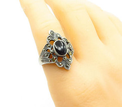925 Sterling Silver - Vintage Black Onyx & Marcasite Cocktail Ring Sz 9 ... - $26.17