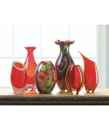 "RED ART GLASS BOTTLENECK VASE 13.2"" TALL - $89.95"