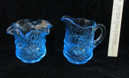 Vintage L G Wright Creamer & Sugar Bowl Blue Pressed Glass Cherry Fruit ... - $36.62