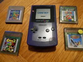 Nintendo Game Boy Color Grape Handheld System inc mario golf pagemaster ... - $53.96