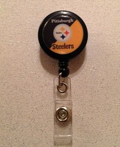 Nfl Pittsburgh Steelers Badge Reel Id Holder black yellow alligator clip... - $6.95