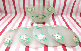 1930's Lancaster Kay Pattern Satin Hand-Painted Dessert / Salad Bowl + 4 Plates! - $18.00
