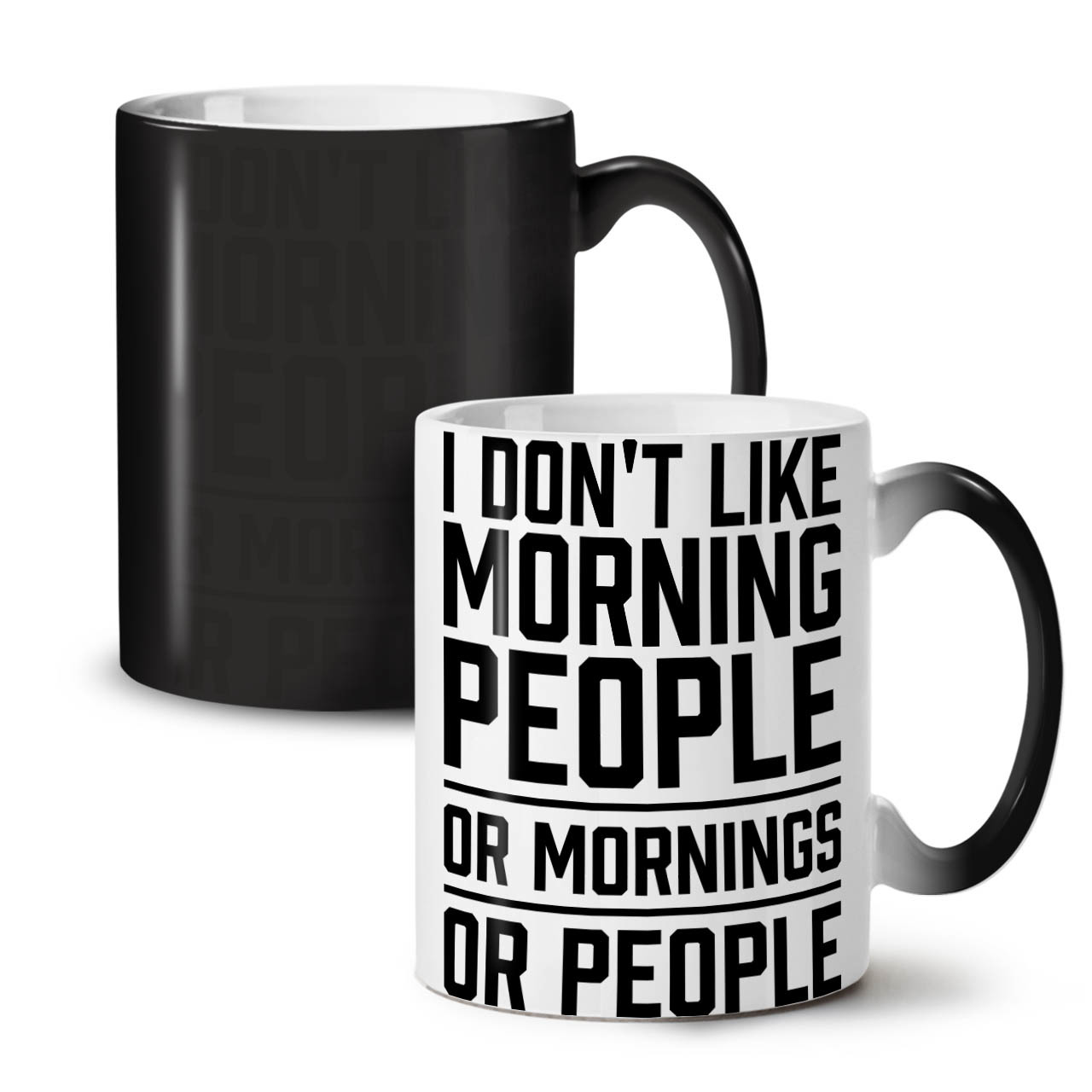 Primary image for Morning People Joke Funny NEW Colour Changing Tea Coffee Mug 11 oz | Wellcoda