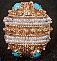 14K Gold ISJC Replica India Dowry Ring Size 4.5 Seed Pearls Turquoise 50s Prong - $791.01