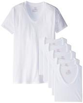 Hanes 6Pk Mens Basic White V-Neck Soft Cotton T-Shirts Undershirts Tagless Large - $19.31
