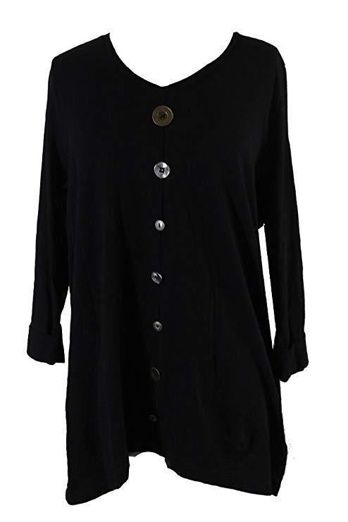 Primary image for JM Collection New Women's V-Neck Mixed-Button Top Deep Black Shirt $42 Sz L & XL
