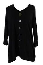 JM Collection New Women's V-Neck Mixed-Button Top Deep Black Shirt $42 S... - $14.99